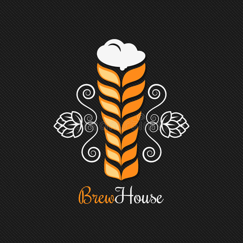 Bierglas-Logodesignhintergrund lizenzfreie abbildung