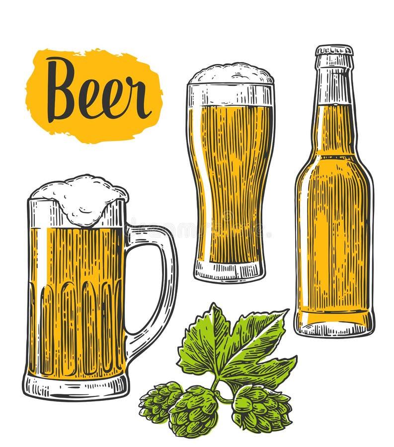 Bierglas, mok, fles, hop Vectorwijnoogst gegraveerde die illustratie op witte achtergrond wordt geïsoleerd vector illustratie