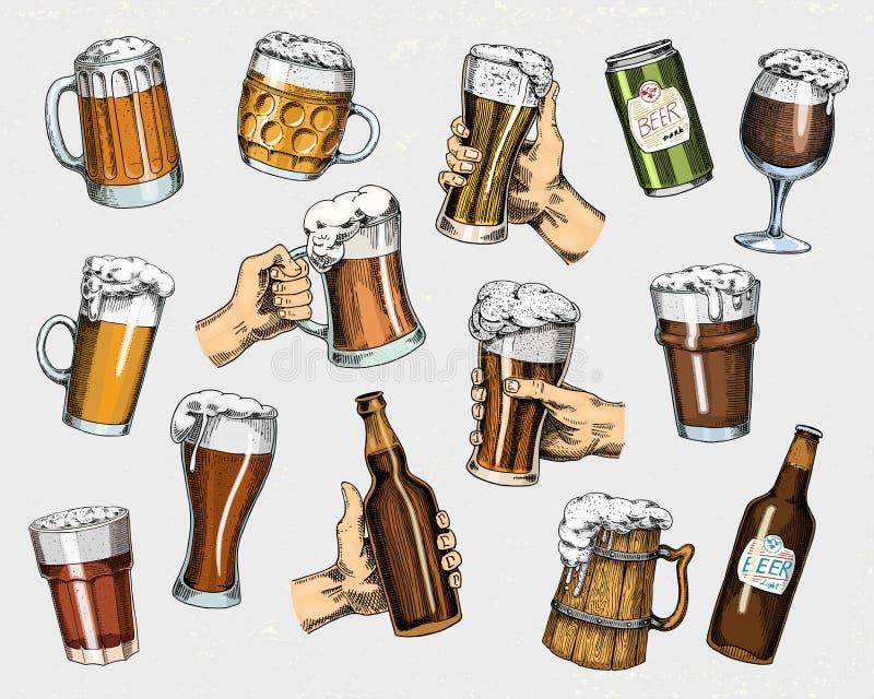 Bierglas, mok of fles van het meest oktoberfest in inkthand wordt in oude schets en uitstekende stijl voor Web, uitnodiging wordt stock illustratie