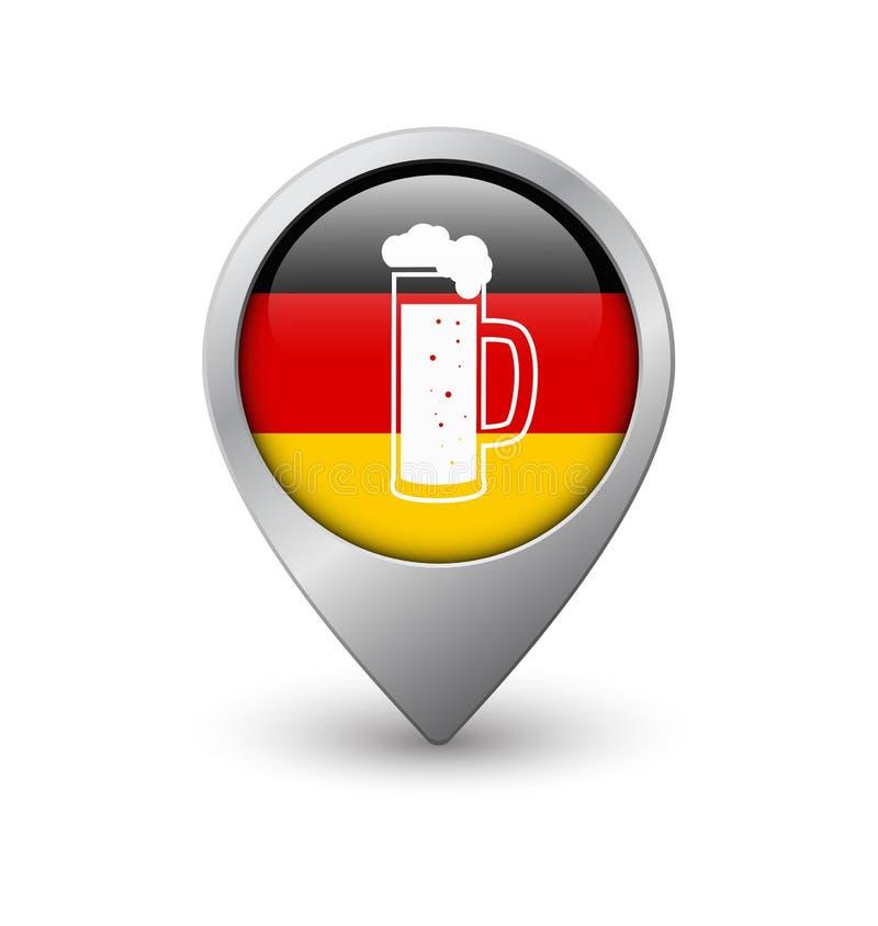 Bierglas op de achtergrond op Duitse vlag, de wijzer van de Webkaart royalty-vrije illustratie