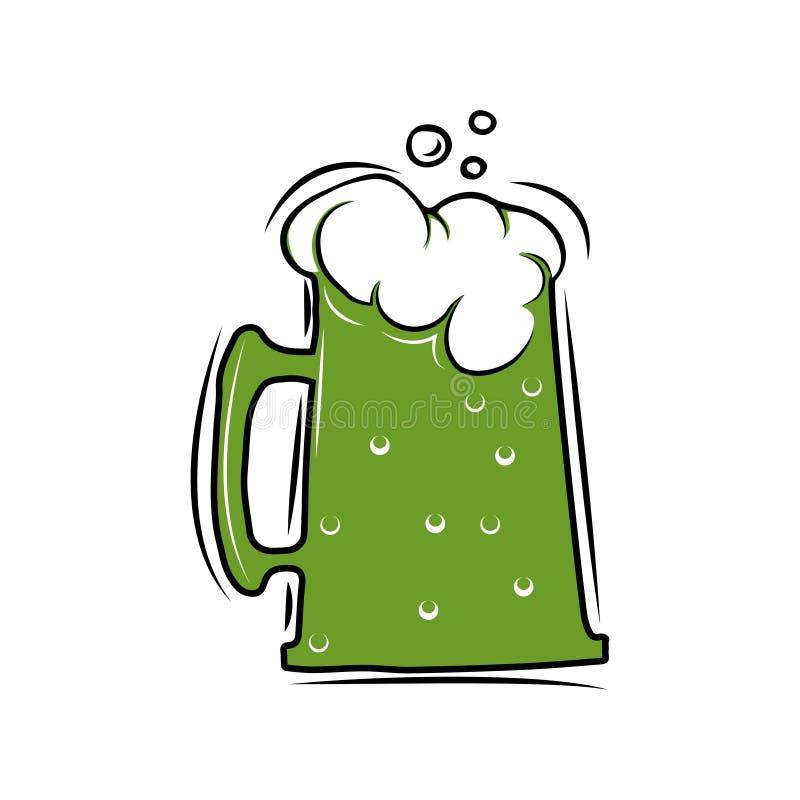 Bierglaszeichen Dunkelgrünes Ale Tag Str Vektorillustration lokalisiert auf Weiß lizenzfreie abbildung