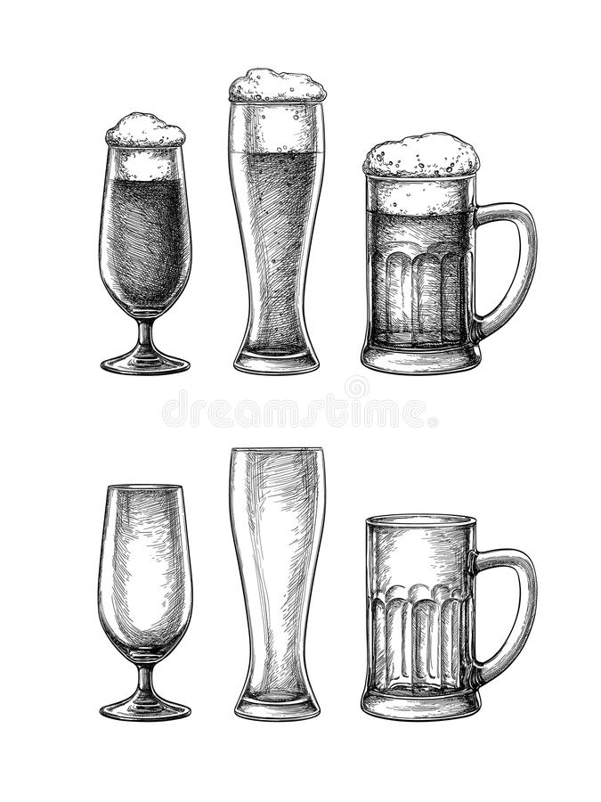Bierglazen en mok stock illustratie