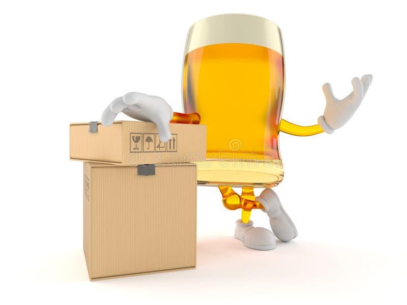 Bierkarakter met stapel dozen stock illustratie