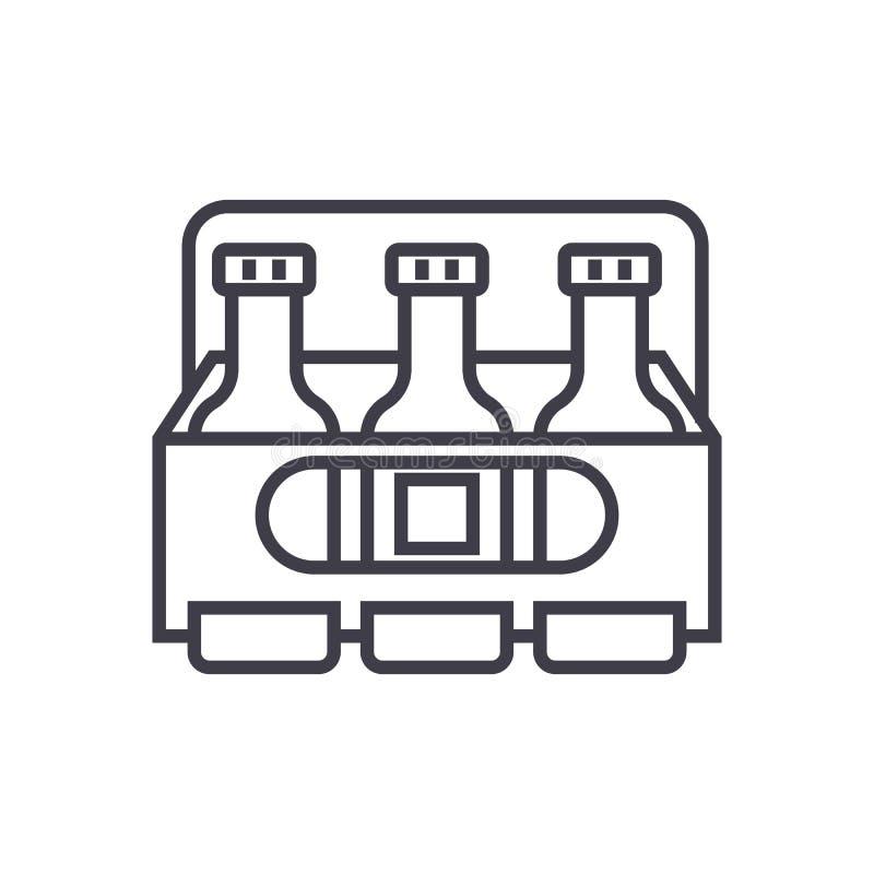 Bierkasten-Vektorlinie Ikone, Zeichen, Illustration auf Hintergrund, editable Anschläge lizenzfreie abbildung