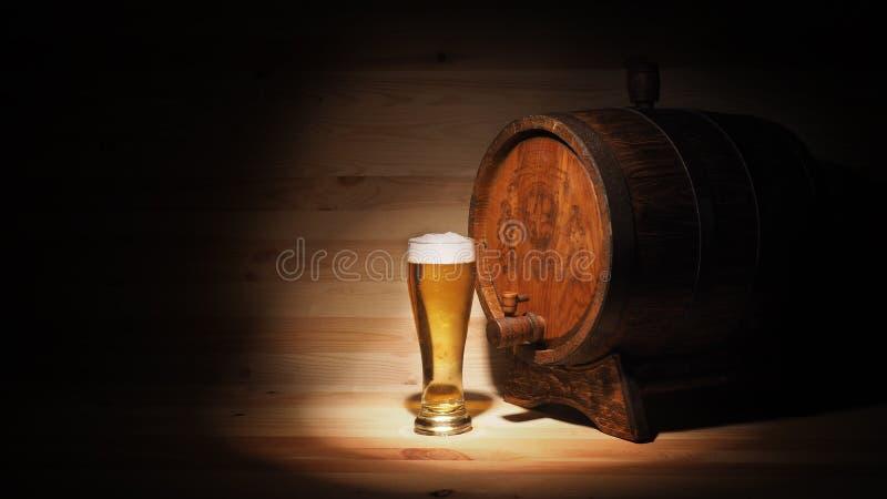 Bierkrüge und Fass auf einem hölzernen Hintergrund lizenzfreie stockfotos
