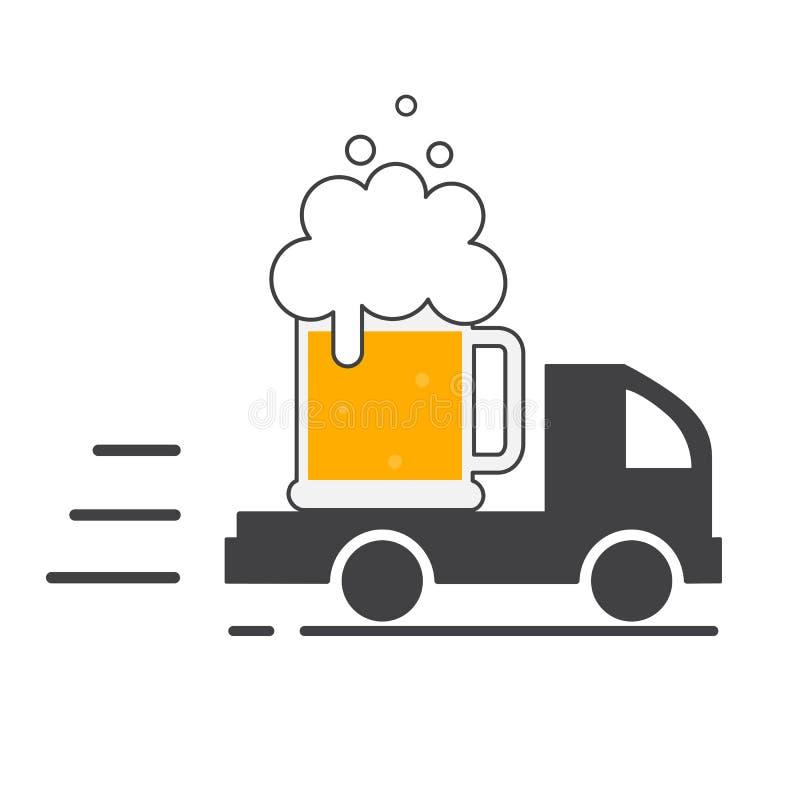 Bierlevering Het Embleem van het symboolmalplaatje vector illustratie