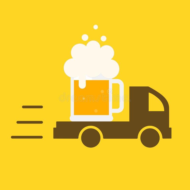 Bierlevering Het Embleem van het symboolmalplaatje stock illustratie