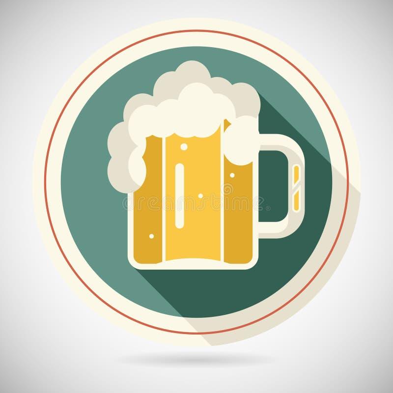 Biermok met lang de Alcoholpictogram van het Schuim Retro Symbool stock illustratie