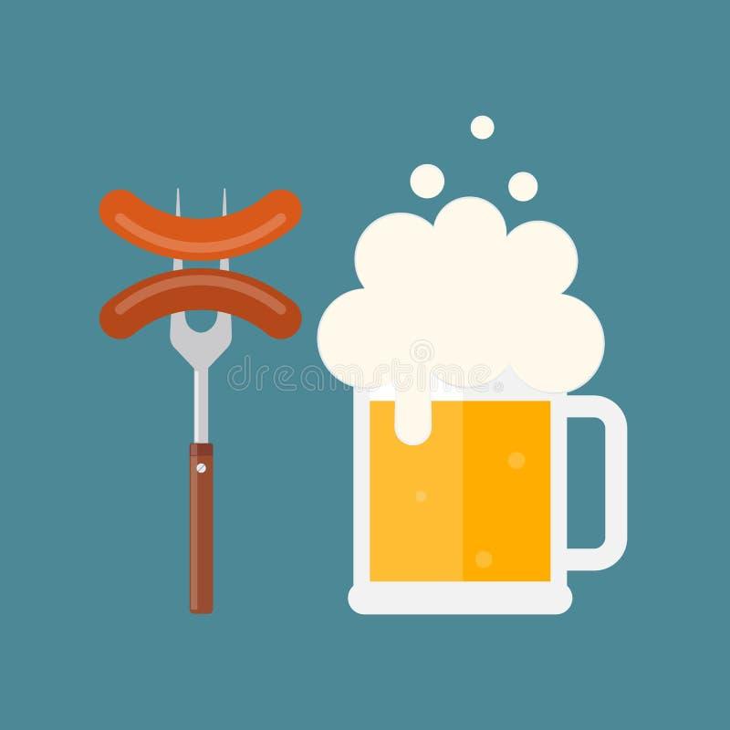 Biermok met schuim en worst op een vork vector illustratie