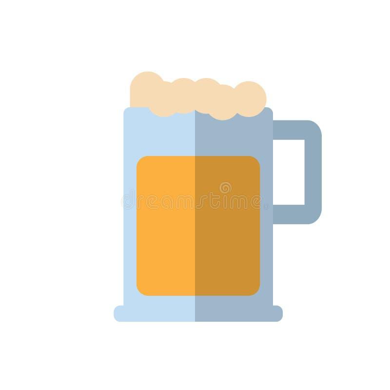 Biermok met schuim vlak pictogram, gevuld vectorteken, kleurrijk die pictogram op wit wordt geïsoleerd stock illustratie