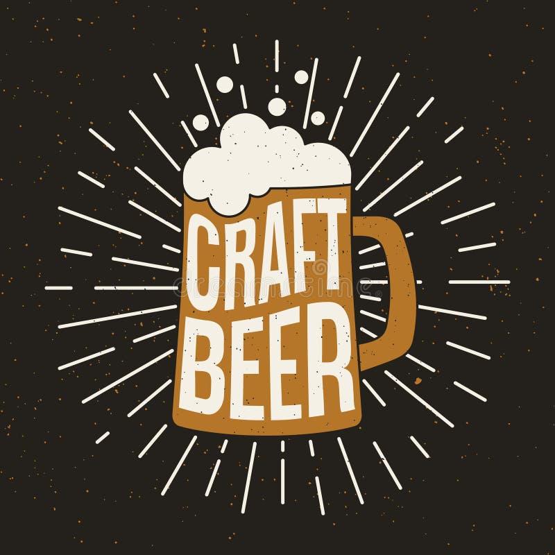 Biermok met tekst Ambachtbier stock illustratie