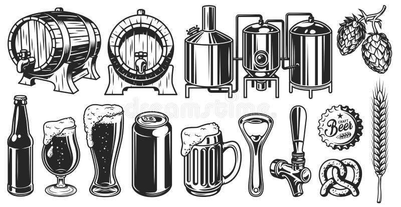 Bierobjecten reeks stock illustratie