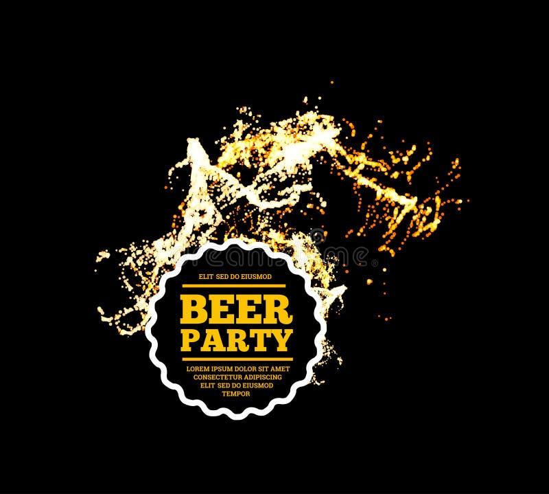 Bierpartei Spritzen des Bieres mit Blasen Auch im corel abgehobenen Betrag stock abbildung