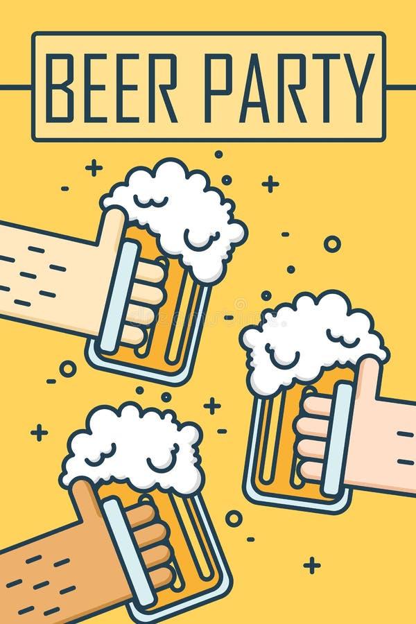 Bierpartij De dunne banner van het lijn vlakke ontwerp Drie handen die bierglazen houden Vector stock illustratie