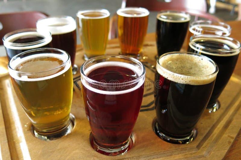 Bierprobierenflug von Bieren machen BierFassbier in Handarbeit lizenzfreie stockfotos