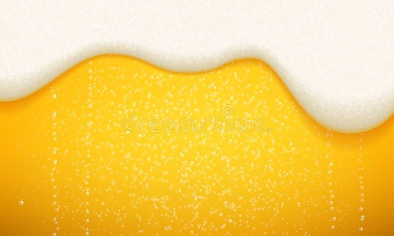 Bierschuim en bellenachtergrond Vector naadloos realistisch ambachtbier in stromende schuim en bellen royalty-vrije illustratie