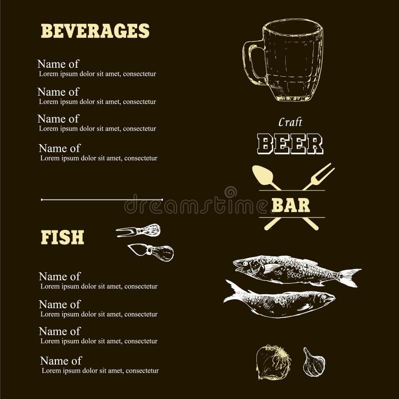 Bierskizzen-Vektorelemente im schwarzem Kreidebrett oder -menü Zeichnende Handgezogene Einzelteile, Bierflasche und Becher, Sardi lizenzfreie abbildung
