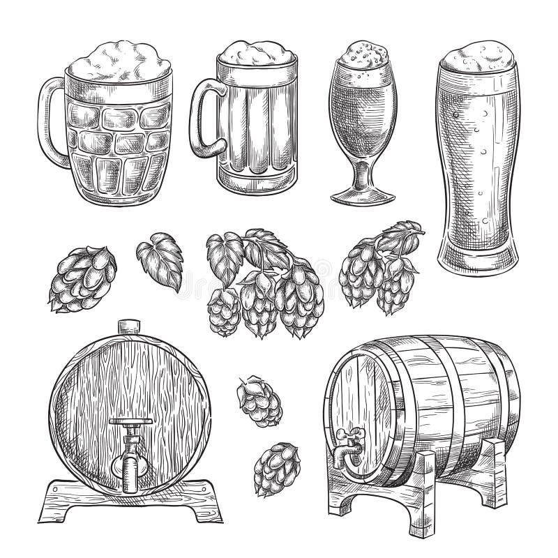 Bierskizzen-Vektorillustration Gläser, Becher, Hopfen, gezeichnete lokalisierte Elemente des Fasses Hand für Kneipe und Bar entwe stock abbildung