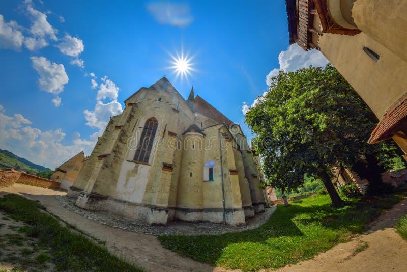 Biertan,罗马尼亚- 7月23 :Biertan加强了教会, 2016年7月23日的罗马尼亚 免版税库存照片