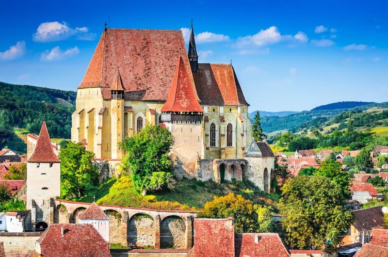 Biertan stärkt kyrka, Transylvania, Rumänien royaltyfri fotografi