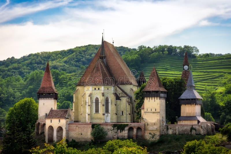 Biertan stärkt kyrka, Transylvania, Rumänien royaltyfri foto
