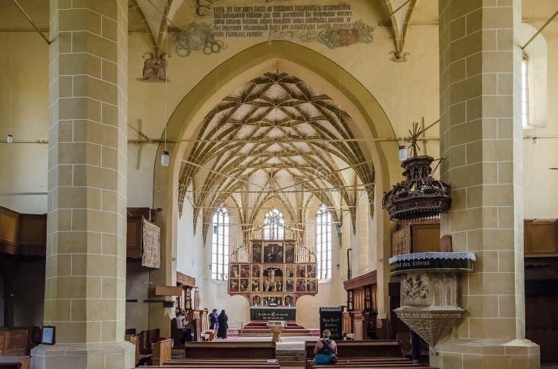 Biertan Versterkt Kerkbinnenland stock foto