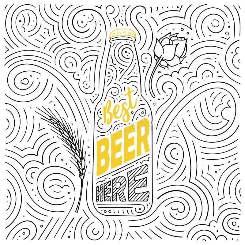 Bierthema-Kartendesign Die Beschriftung - bestes Bier hier stock abbildung