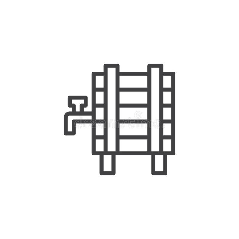 Biervat met het pictogram van het kraanoverzicht vector illustratie
