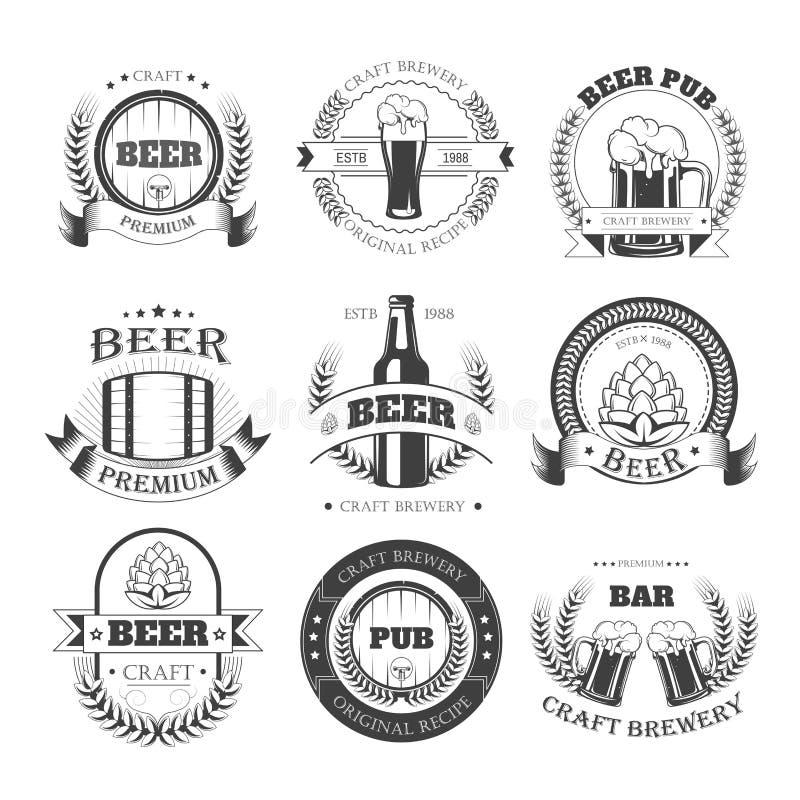 Biervektorikonen für Brauerei halten Kneipen- oder Produktaufkleber ab stock abbildung