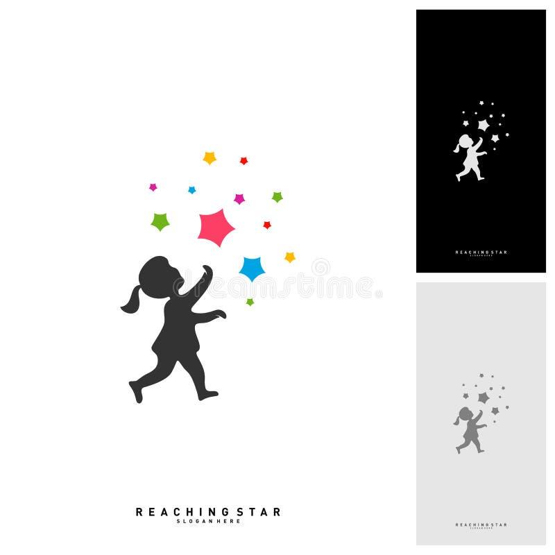 Bierze Gwiazdowego logo projekta szablonu wektor Dosięgać gwiazda logo pojęcia Kreatywnie symbol - wektor ilustracja wektor