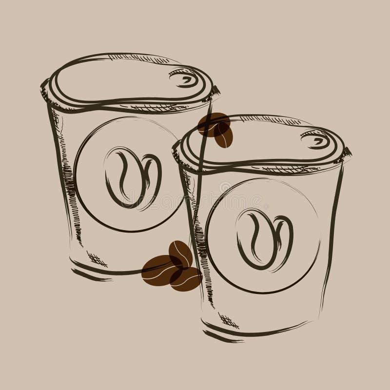 Bierze oddalonego kawowego ręka remisu nakreślenie royalty ilustracja