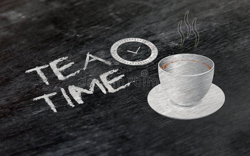 Bierze odpoczynek dla Herbacianej przerwy pojęcia nad chalkboard zdjęcia stock