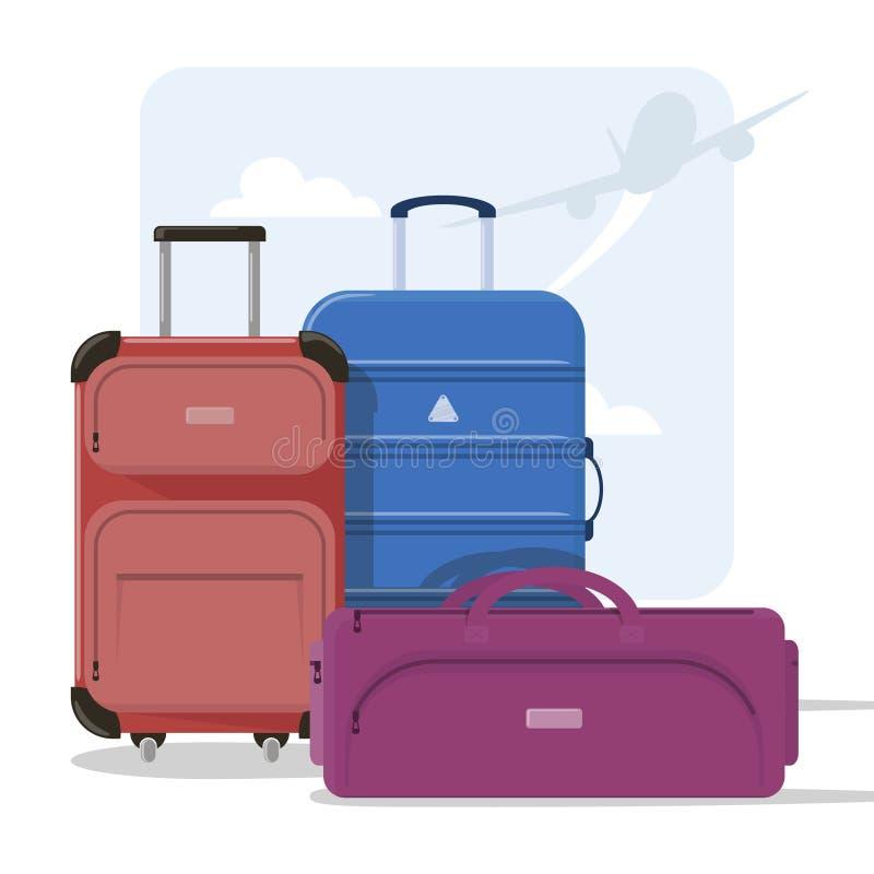 Bierze opiekę twój bagaż gdy podróżujący również zwrócić corel ilustracji wektora ilustracja wektor