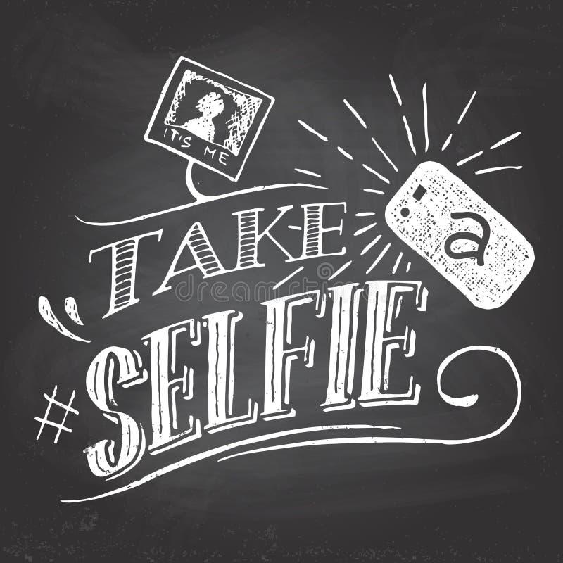 Bierze selfie na blackboard ilustracja wektor
