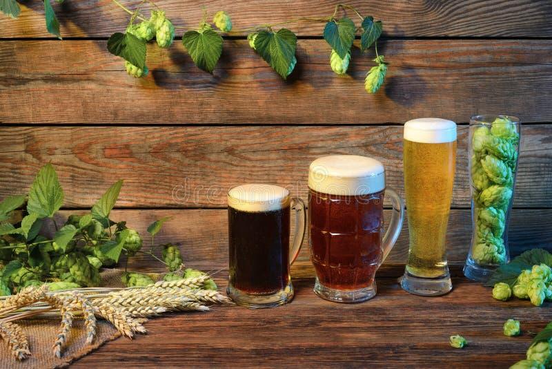 Bierzusammenstellung auf Holztisch in der Bar oder Kneipe verziert auf hölzernem Hintergrund stockfotografie
