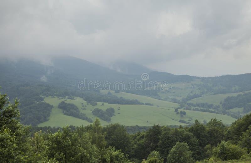 Bieszczady,波兰,欧洲东部-森林和小山在一阴天 免版税库存照片