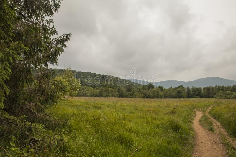 Bieszczady - a mountain range, Poland, Europe; greenery, cloudy skies and a path. This image shows a view of some greenery and cloudy skies in Bieszczady stock photography
