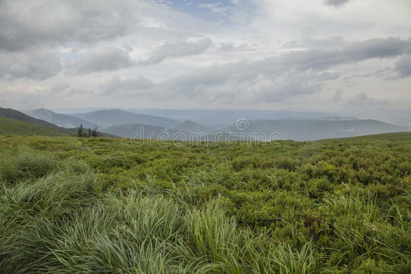 Bieszczady Mountains, south Poland, Europe - green meadows and cloudy skies. This image shows a view of hills, green meadows and cloudy skies in Bieszczady royalty free stock image