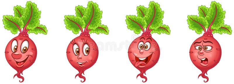 Biet bieten De inzameling van voedselemoji Emoticon royalty-vrije illustratie