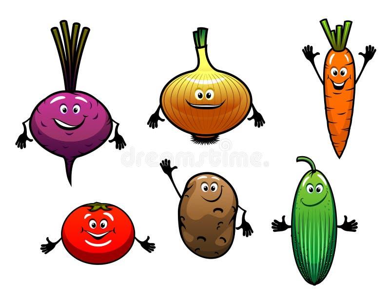 Biet, ui, wortel, tomaat, aardappel stock illustratie