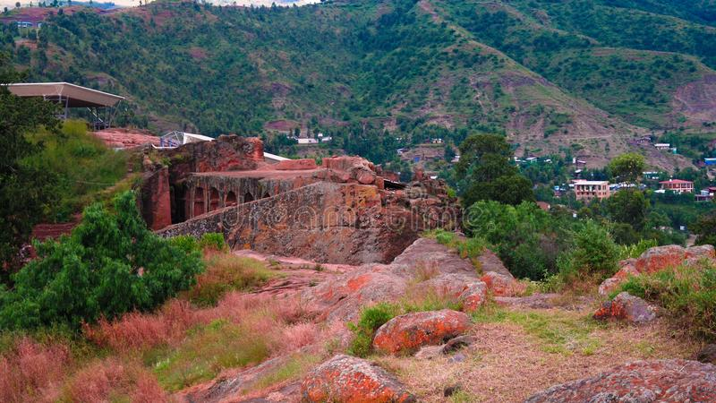 Biete Gabriel Rufael vagga-huggen ut kyrka, Lalibela, Etiopien arkivbild