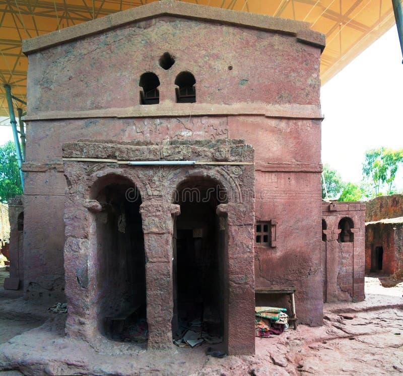 Biete Mariam vagga-huggen ut kyrka, Lalibela, Etiopien royaltyfri fotografi