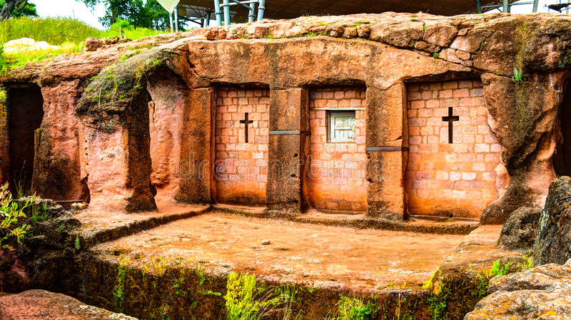 Biete Qeddus Mercoreus rock-hewn church, Lalibela, Ethiopia. Biete Qeddus Mercoreus rock-hewn church in Lalibela, Ethiopia royalty free stock photo
