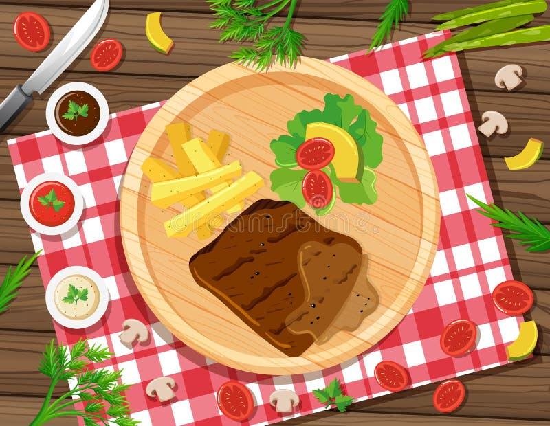 Bife com fritadas e salada na placa ilustração do vetor