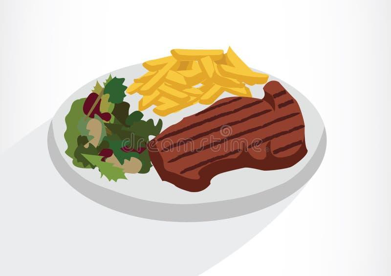 Bife com salada e batatas fritas em uma placa Ilustração do vetor em um fundo branco ilustração do vetor