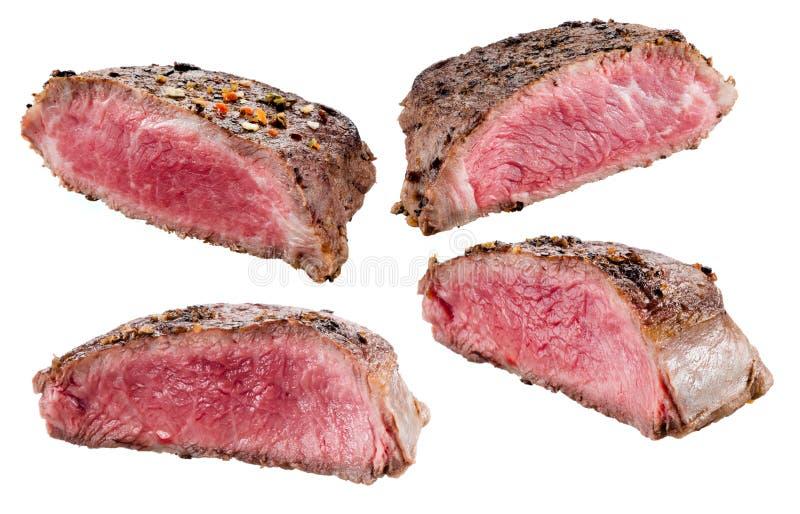 Bife de carne Carne isolada no branco coleção fotografia de stock