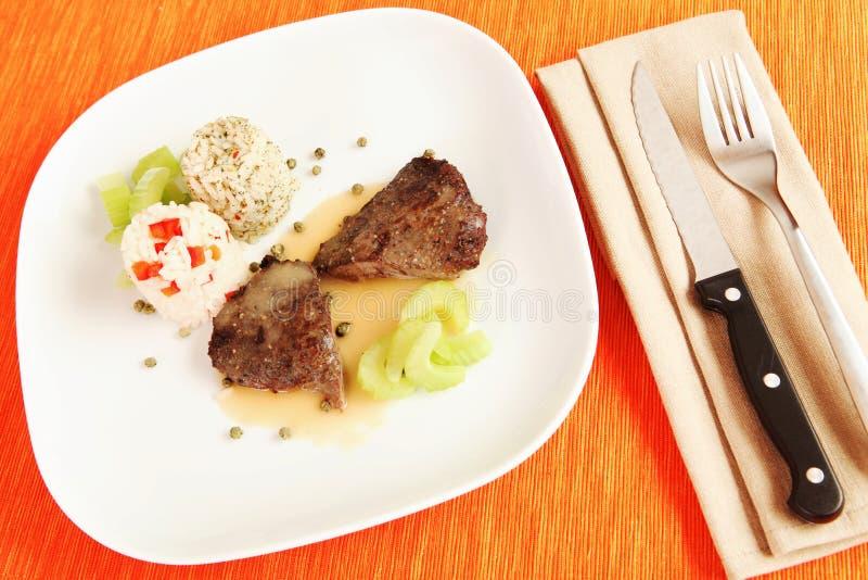 Bife de carne com arroz imagem de stock royalty free