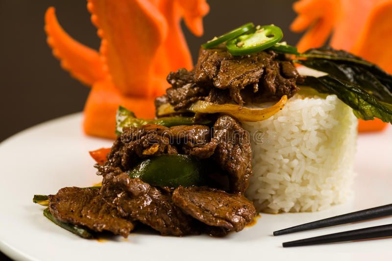Bife de pimenta asiático foto de stock