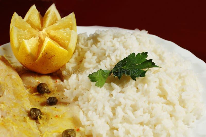 Bife e arroz foto de stock