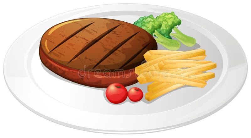 Bife e fritadas na placa ilustração royalty free